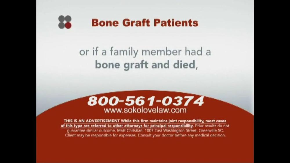 Pulaski Law Firm >> Sokolove Law TV Spot, 'Bone Graft Patients' - iSpot.tv