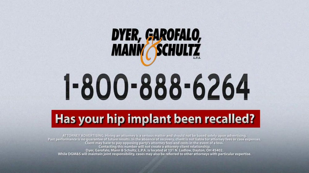 Dyer, Garofalo, Mann & Schultz TV Spot, 'Hip Implant' - Screenshot 8