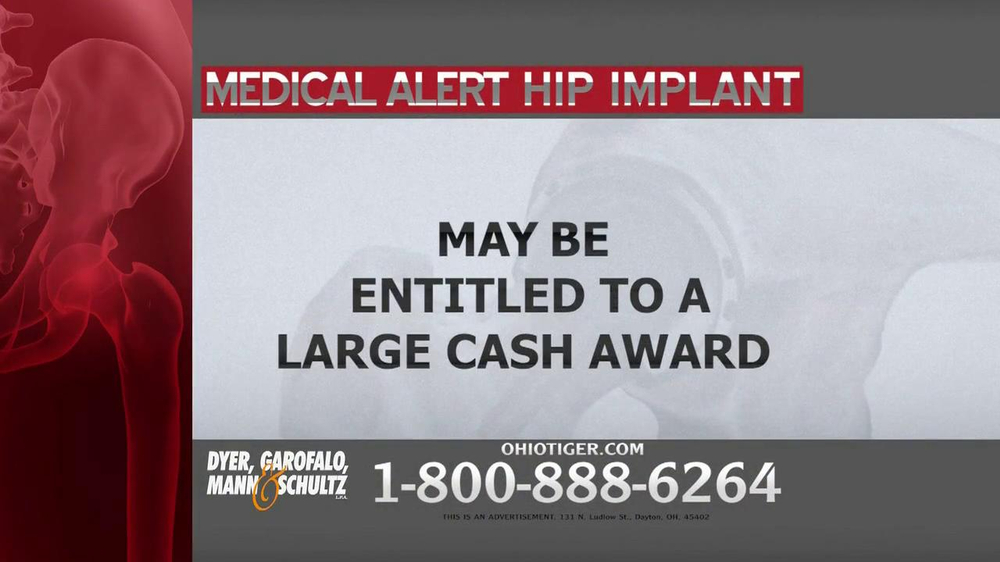 Dyer, Garofalo, Mann & Schultz TV Spot, 'Hip Implant' - Screenshot 3