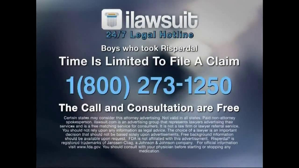 iLawsuit Legal Hotline TV Spot, 'Risperdal' - Screenshot 10