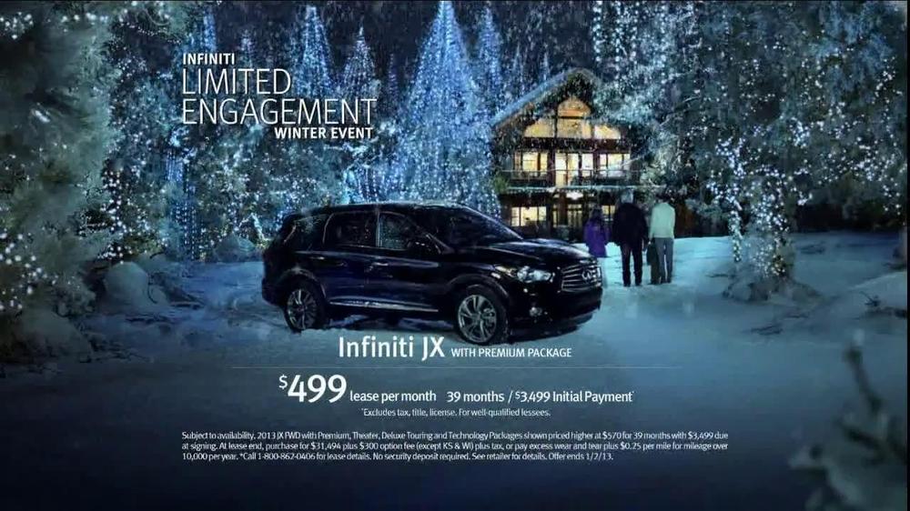 infiniti jx tv commercial 39 limited engagement winter. Black Bedroom Furniture Sets. Home Design Ideas