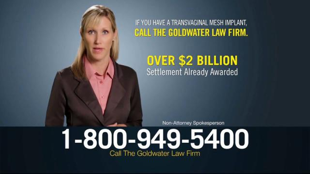Pulaski Law Firm >> Goldwater Law Firm TV Commercial, 'Transvaginal Mesh Implant' - iSpot.tv
