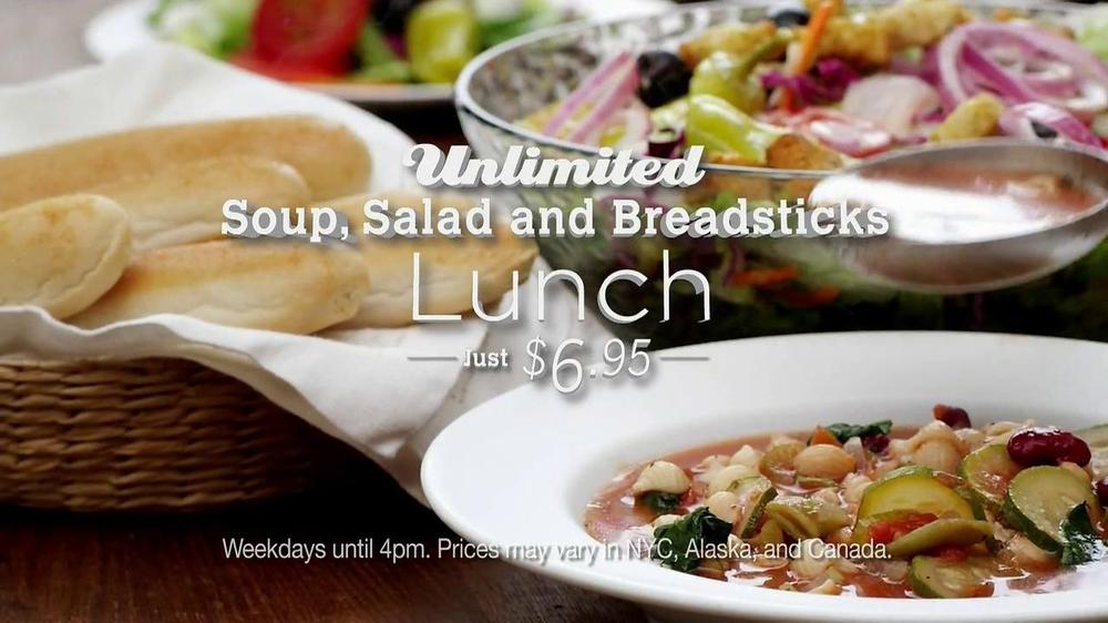 Olive garden 2 for 25 italian dinner tv commercial - Olive garden soup and salad dinner ...