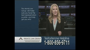 Arentz Law Group TV Spot, 'Testosterone Helpline: Compensation'