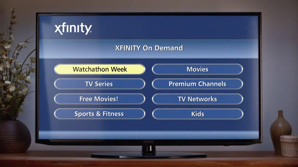 Xfinity on demand tv commercial 39 watchathon living room for Tv on demand