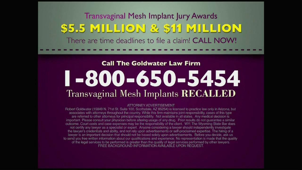 Pulaski Law Firm >> Goldwater Law Firm TV Commercial, 'Transvaginal Mesh Implants Recalled' - iSpot.tv