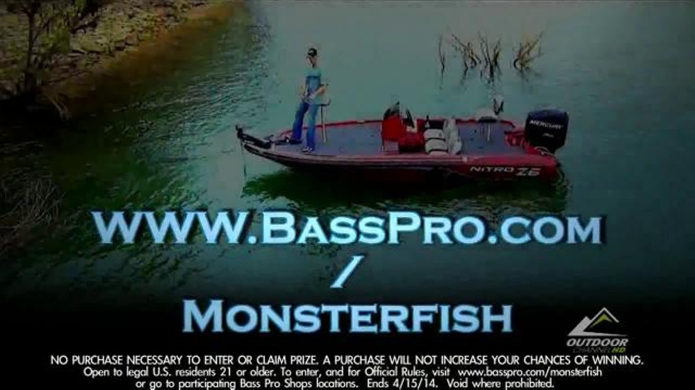Bass pro shops free nitro z 6 boat tv commercial for Bass pro monster fish