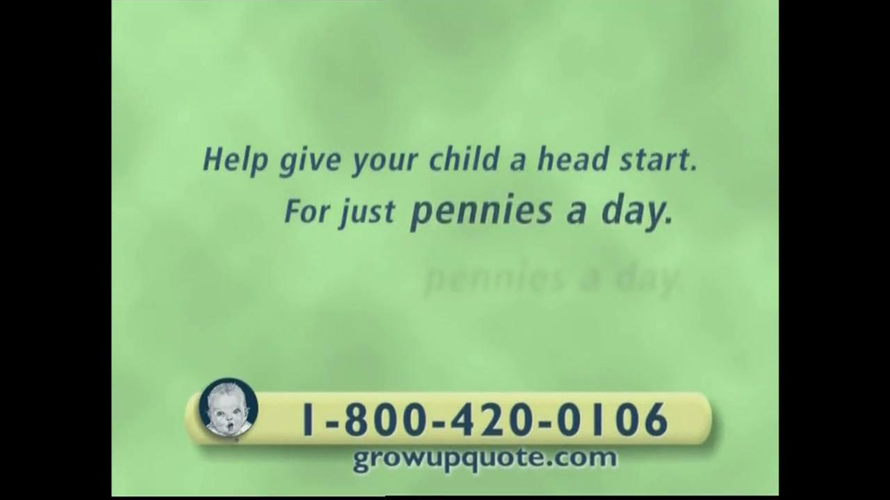 After a little Googling, I realized that the ad was for the Gerber Grow-Up Plan, a whole life insurance policy for children offered by Gerber Life. In the course of looking into it, I stumbled.