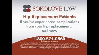 Sokolove Law TV Spot, 'Stryker Hip Replacement'