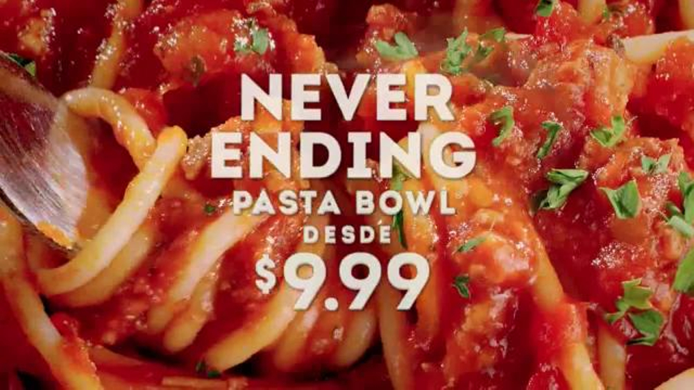 Olive garden never ending pasta bowl tv commercial 39 de regreso 39 spanish for Olive garden endless pasta bowl