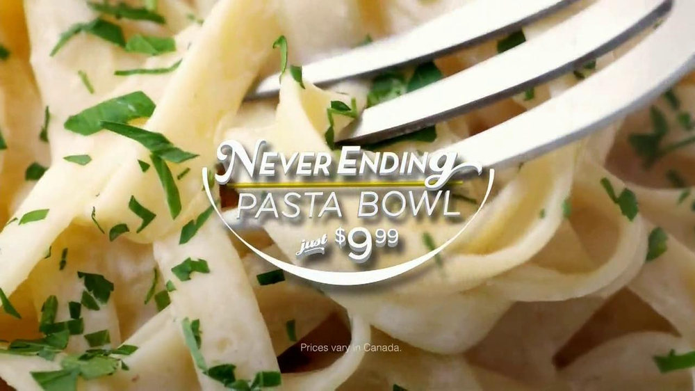 Olive garden never ending pasta tv commercial 39 unlimited 39 for Olive garden endless pasta bowl