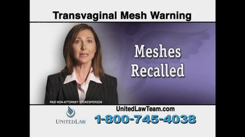 United Law TV Spot, 'Transvaginal Mesh Warning' - Thumbnail 3