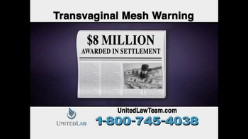 United Law TV Spot, 'Transvaginal Mesh Warning' - Thumbnail 4