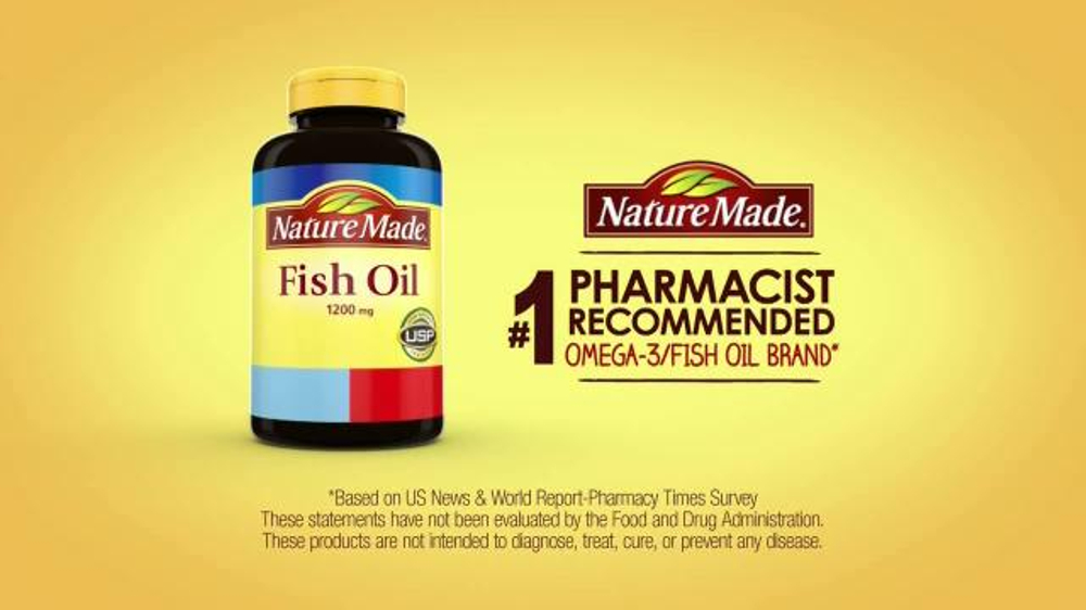 Nature made tv commercial 39 number one recommended fish for Recommended dose of fish oil