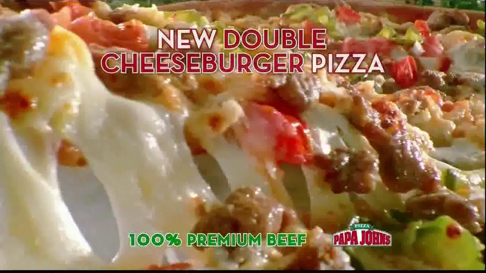 Papa John's Double Cheeseburger Pizza TV Spot - Screenshot 5