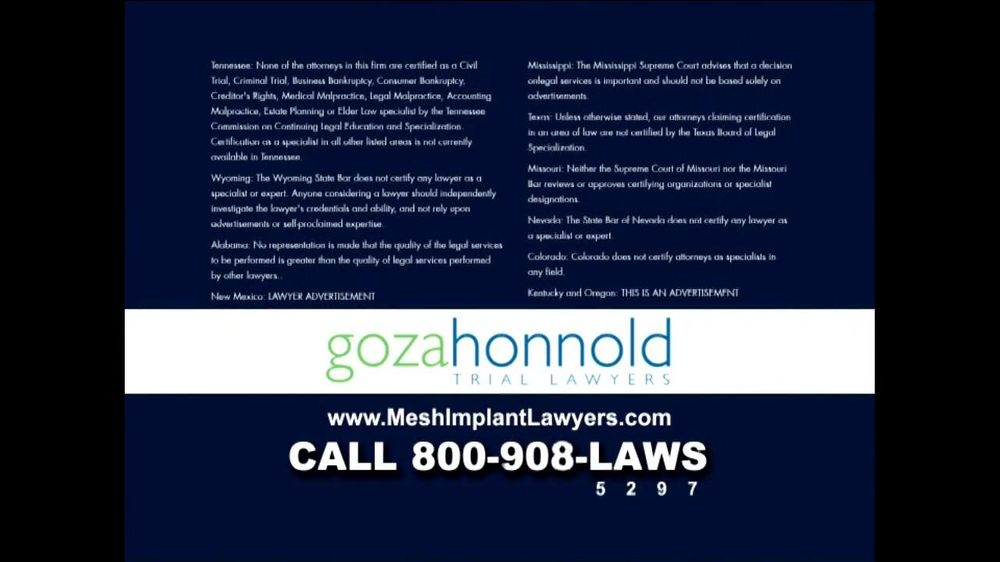 Goza Honnold Trial Lawyers TV Spot For Transvaginal Mesh Alert - Screenshot 8