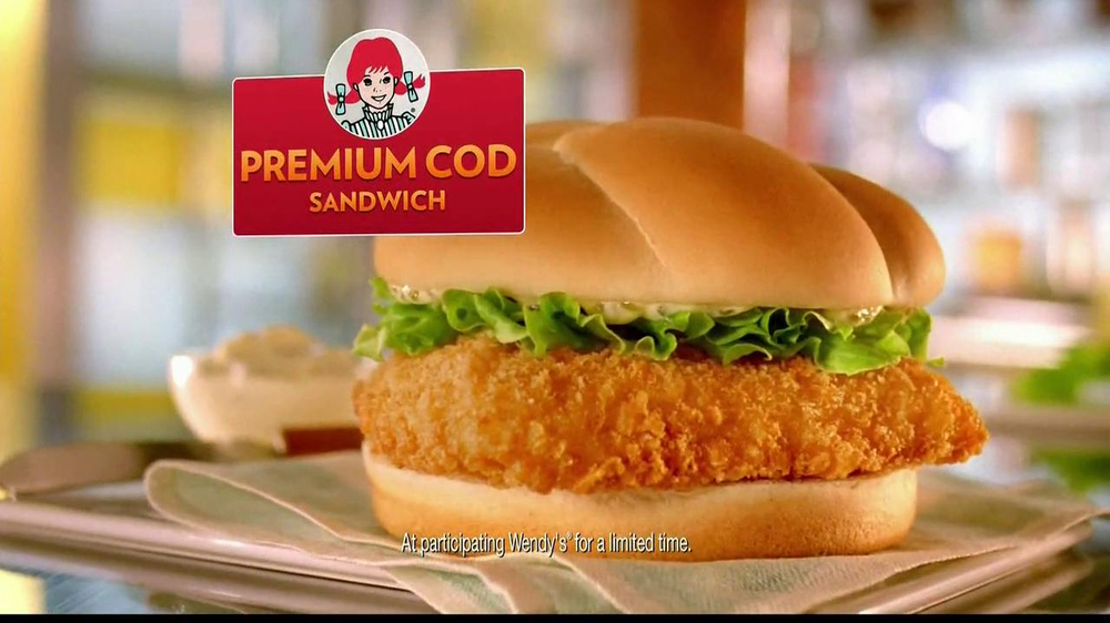 Wendy 39 s premium cod sandwich tv commercial 39 non specific for Wendy s fish sandwich