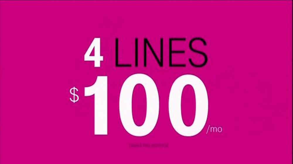 T-Mobile TV Spot, 'Four Lines for $100 a Month' - Screenshot 6
