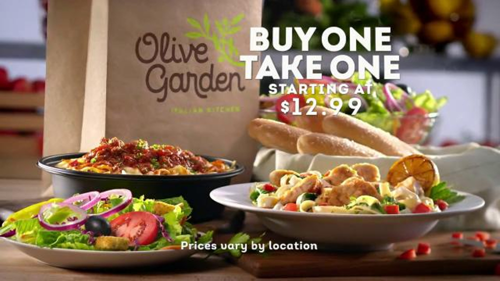 Olive garden tv spot 39 buy one take one for later 39 What time does the olive garden close