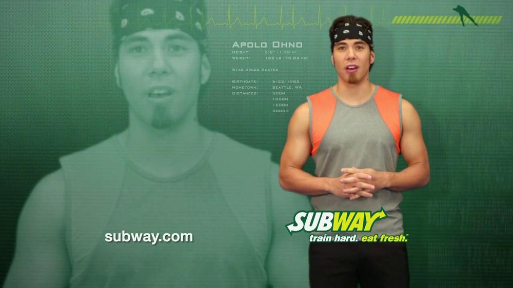 subway club tv commercial featuring apolo ohno. Black Bedroom Furniture Sets. Home Design Ideas