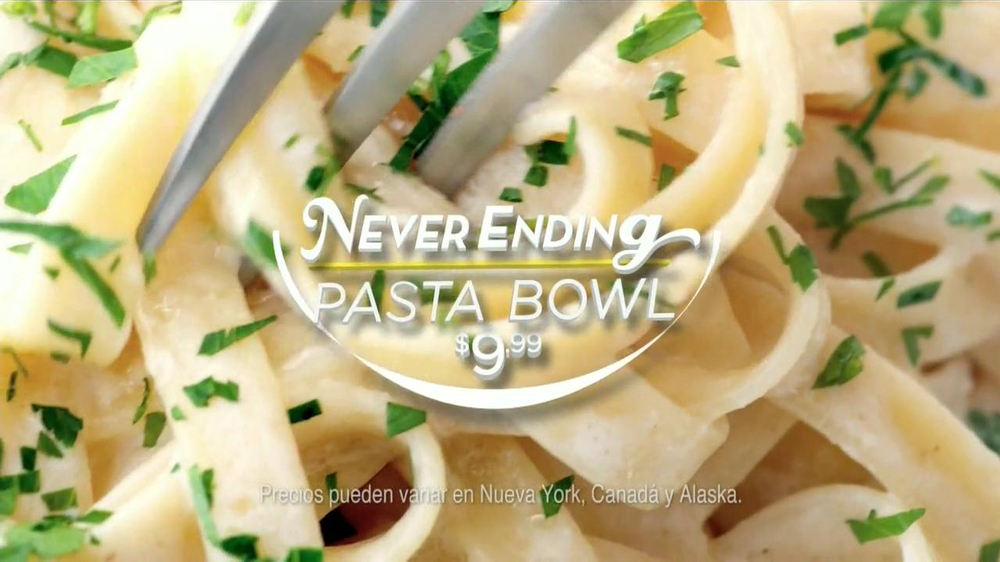 Olive Garden Never Ending Pasta Bowl Tv Commercial Spanish