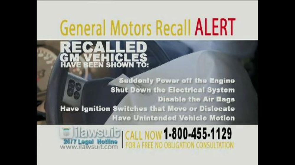 Pulaski Law Firm >> iLawsuit Legal Hotline TV Spot, 'General Motors Recall Alert' - iSpot.tv