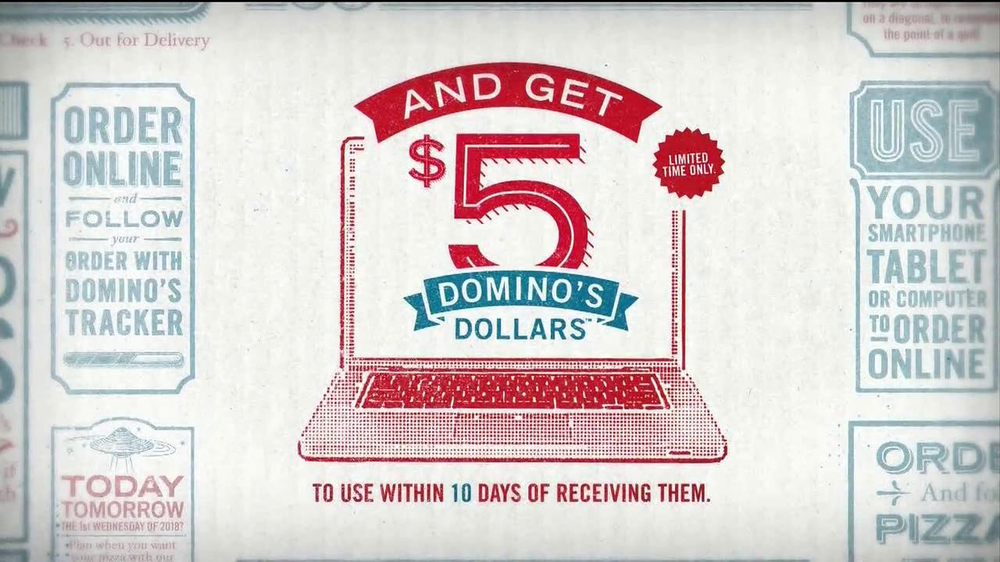 Domino's Medium Two-Topping Pizza TV Spot, '5 Dominos Dollars' - Screenshot 3