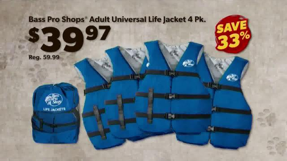 Bass pro shops dog days family event tv spot 39 life jacket for Bass fishing life jacket