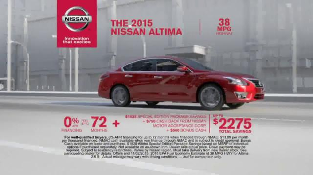2015 nissan altima commercial woman in nissan altima commercial. Black Bedroom Furniture Sets. Home Design Ideas