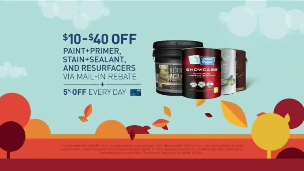 Lowe 39 s fall savings tv commercial 39 fall is in the air for Home depot memorial day paint rebate