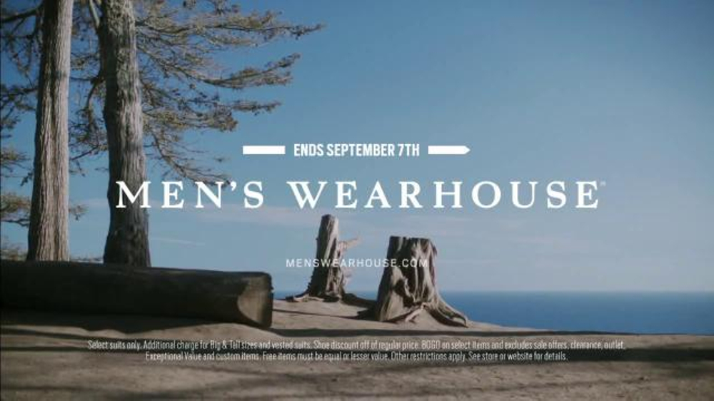 Watch video· About Men's Wearhouse Labor Day Sale TV Commercial, 'Your Fall Style' Men's Wearhouse is offering discounts on select suits and all shoes as well as Buy One Get One Free on more items during its Labor Day Sale.