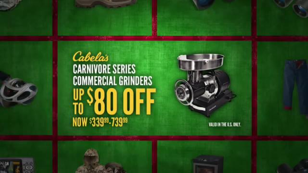 Cabela 39 s christmas sale tv spot 39 jackets smokers and for Cabela s fishing sale